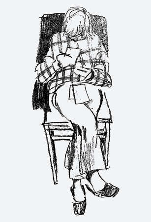 Freehand drawing of a girl sitting on a chair and reading note papers