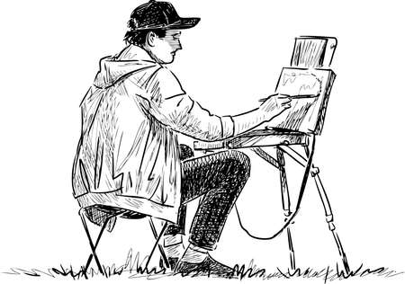 Sketch of young artist painting in open air