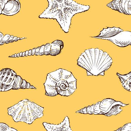 Seamless pattern of sketches various seashells Illusztráció