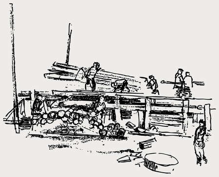Sketch of team workers on construction of wooden house Illusztráció