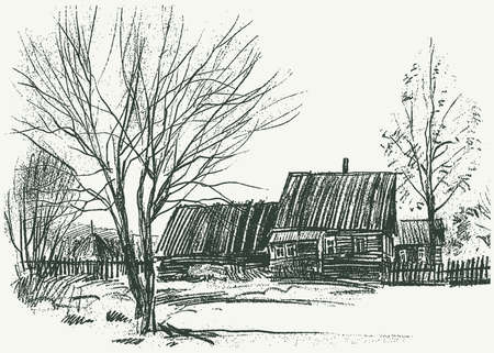 Freehand drawing of village landscape with rural houses and trees Illusztráció