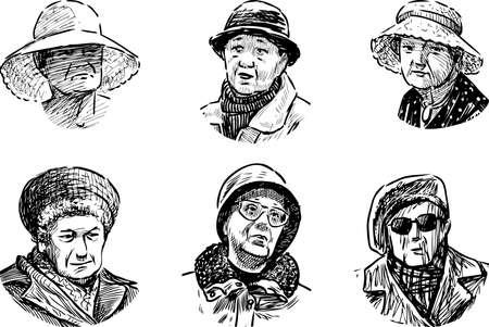 Freehand drawings of portraits various old women Illusztráció