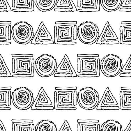 Seamless pattern of outlines abstract geometric elements Illusztráció