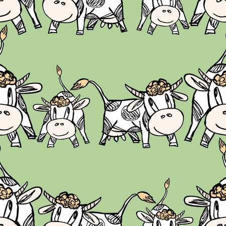 Seamless pattern of drawn cartoon funny cows