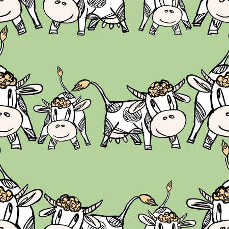 Seamless pattern of drawn cartoon funny cows Illusztráció