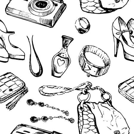 Seamless background of sketches various female things