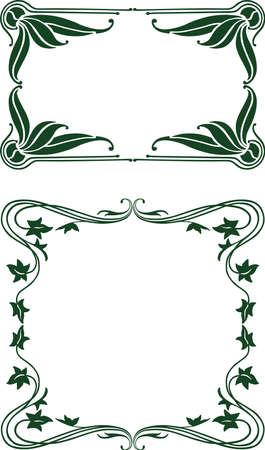 Vector vintage floral frames in sart nouveau style