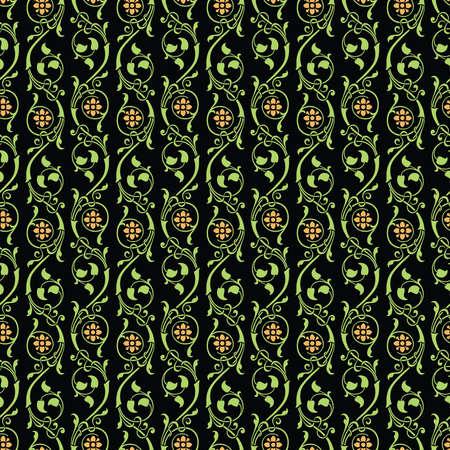 Seamless background of ornamental vintage floral branches Illusztráció