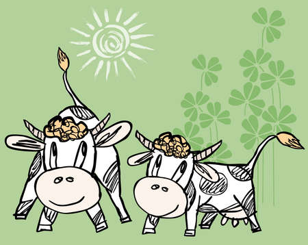 Vector illustration of drawn funny cartoon bull and cow
