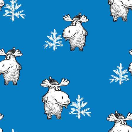 Seamless pattern of cute cartoon christmas elk with fir tree Illusztráció