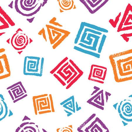 Seamless pattern of drawn colorful geometric elements Illusztráció