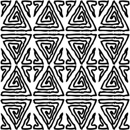Seamless pattern of outline abstract decorative elements