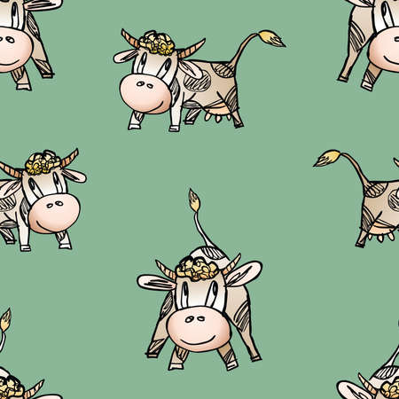 Seamless background of drawn cartoon cheerful cows