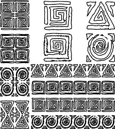 Vector contour drawings of set various abstract design elements and decorative borders