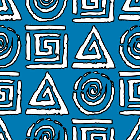 Seamless background of various drawn geometric elements