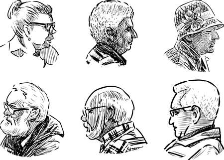 Sketches of portraits various elderly people
