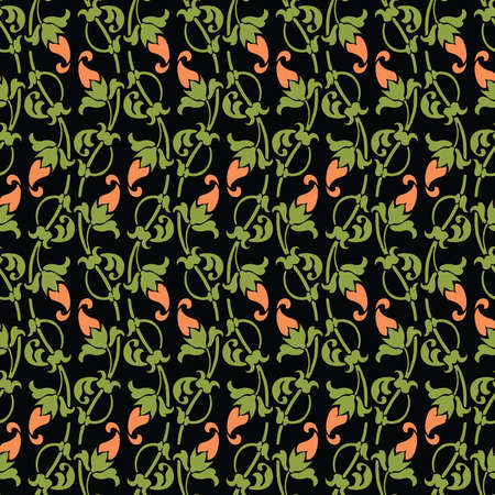 Seamless pattern of decorative vintage flowers and leaves