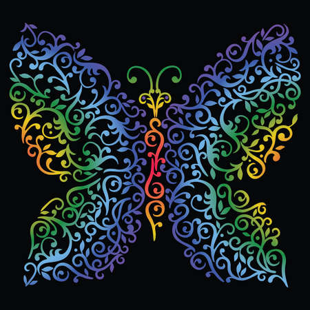 Vector image of decorative abstract colorful butterfly Vectores
