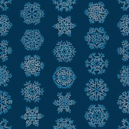 Seamless pattern of contours various christmas snowflakes
