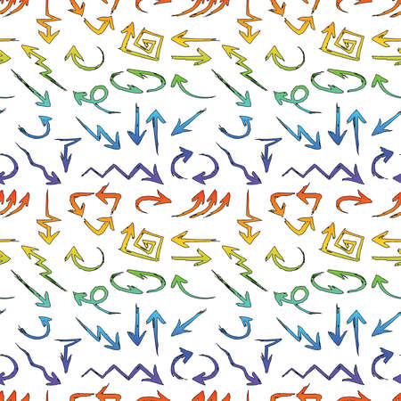 Seamless background of abstract different drawn colorful arrows Vectores