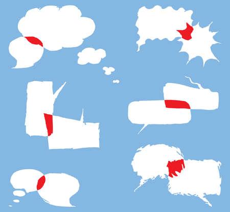 Vector iillustration of set various drawn cross speech bubbles