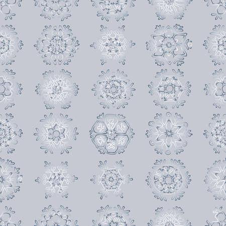 Seamless background of various ornamental christmas snowflakes