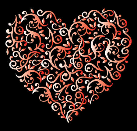 Vector image of ornamental floral heart shape