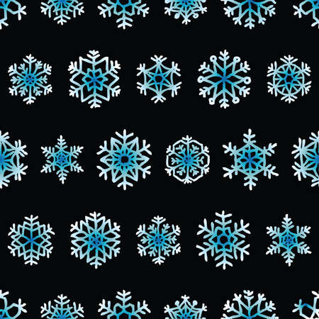 Seamless background of set various abstract decorative christmas snowflakes