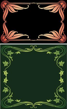 Vector image of vintage floral frames