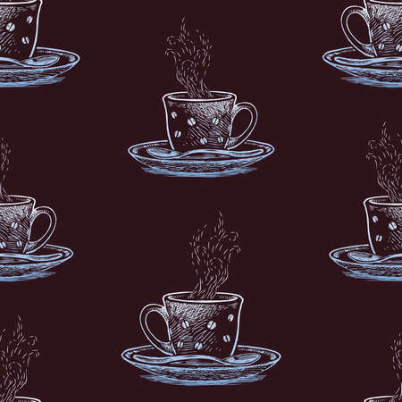 Seamless pattern of sketches cups with hot coffee Vectores
