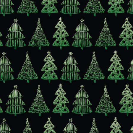 Seamless pattern of sketches various christmas trees Vectores