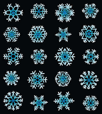 Vector image of set various abstract decorative christmas snowflakes