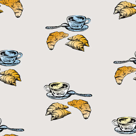 Seamless pattern of sketches tea cups with lemon and croissants