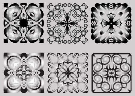 Vector image of set ornamental geometric design elements
