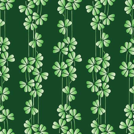 Seamless pattern of decorative shamrock leaves