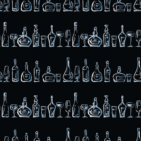 Seamless pattern of sketches various wine glasses and bottles Vectores