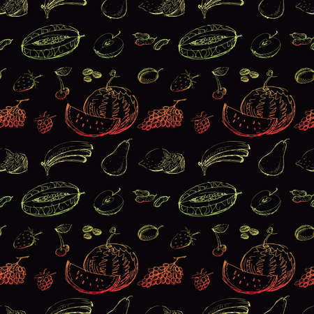 Seamless pattern of sketches various ripe fruits