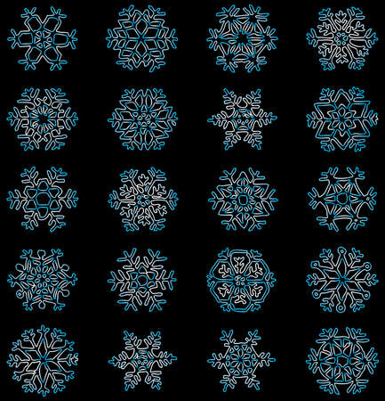 Vector drawing of contours various christmas snowflakes