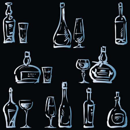 Vector image of sketches various wine glasses and bottles Illusztráció