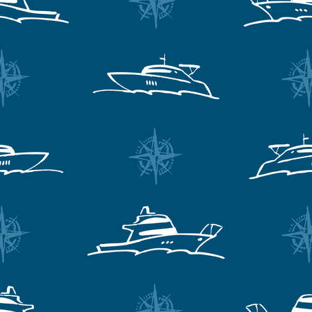 Seamless pattern of outlines contemporary yachts in sea Illusztráció