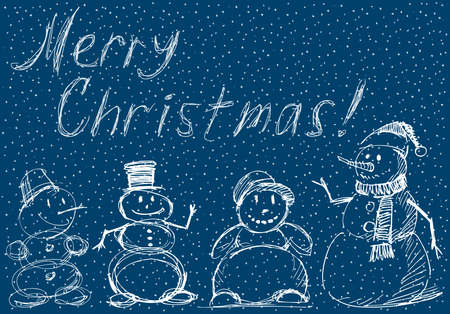 Christmas greeting card with sketches joyful snowmen