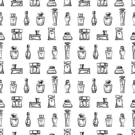 Seamless pattern of outlines various perfumes bottles Illusztráció