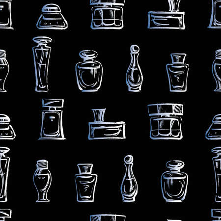 Seamless background of sketches different perfumes bottles