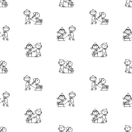 Seamless pattern of outlines cartoon cheerful kids strolling with sledges