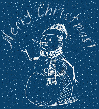 Vector greeting card with outline cheerful christmas snowman