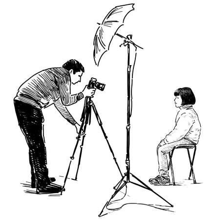 Freehand drawing of a professional photographer photographing little girl in his studio