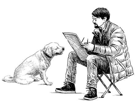 Freehand drawing of street artist sketching big dog