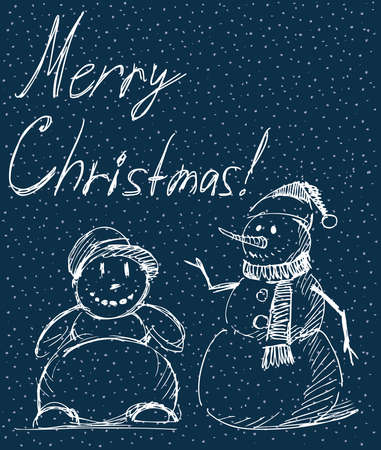 Vector greeting card with sketches joyful christmas snowmen