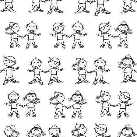 Seamless pattern of outlines of funny cartoon kids skiing and skating Illustration