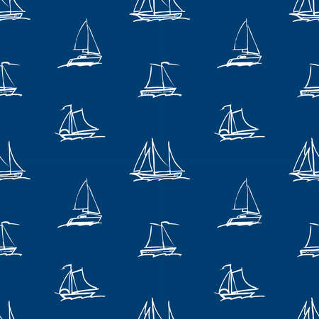 Seamless background of outlines abstract sailing boats